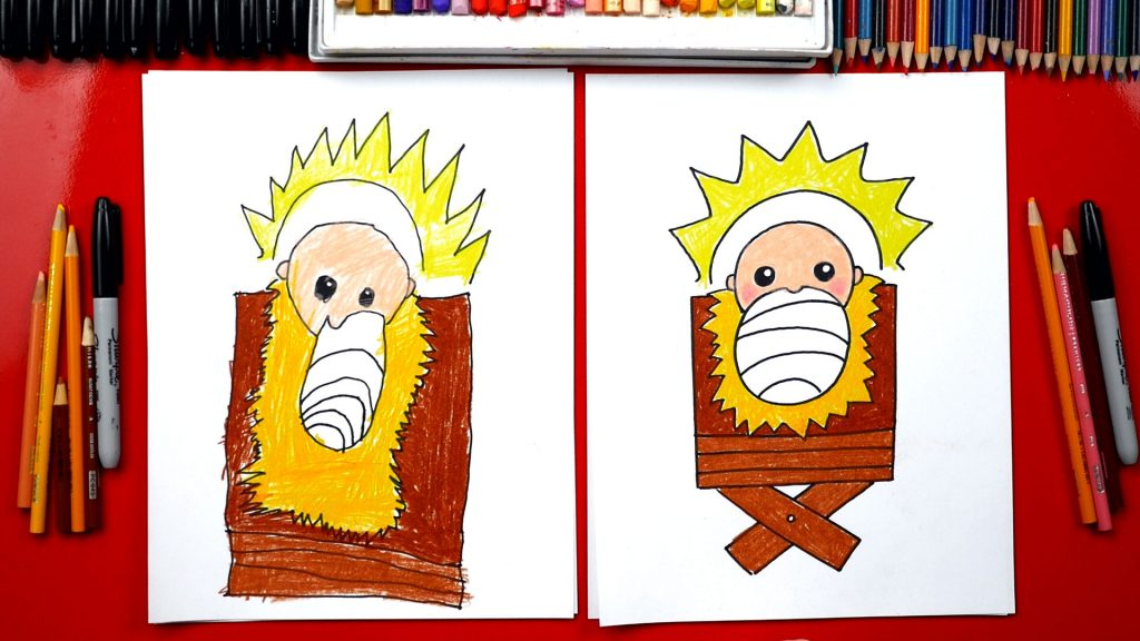 How To Draw Baby Jesus In A Manger – Nativity
