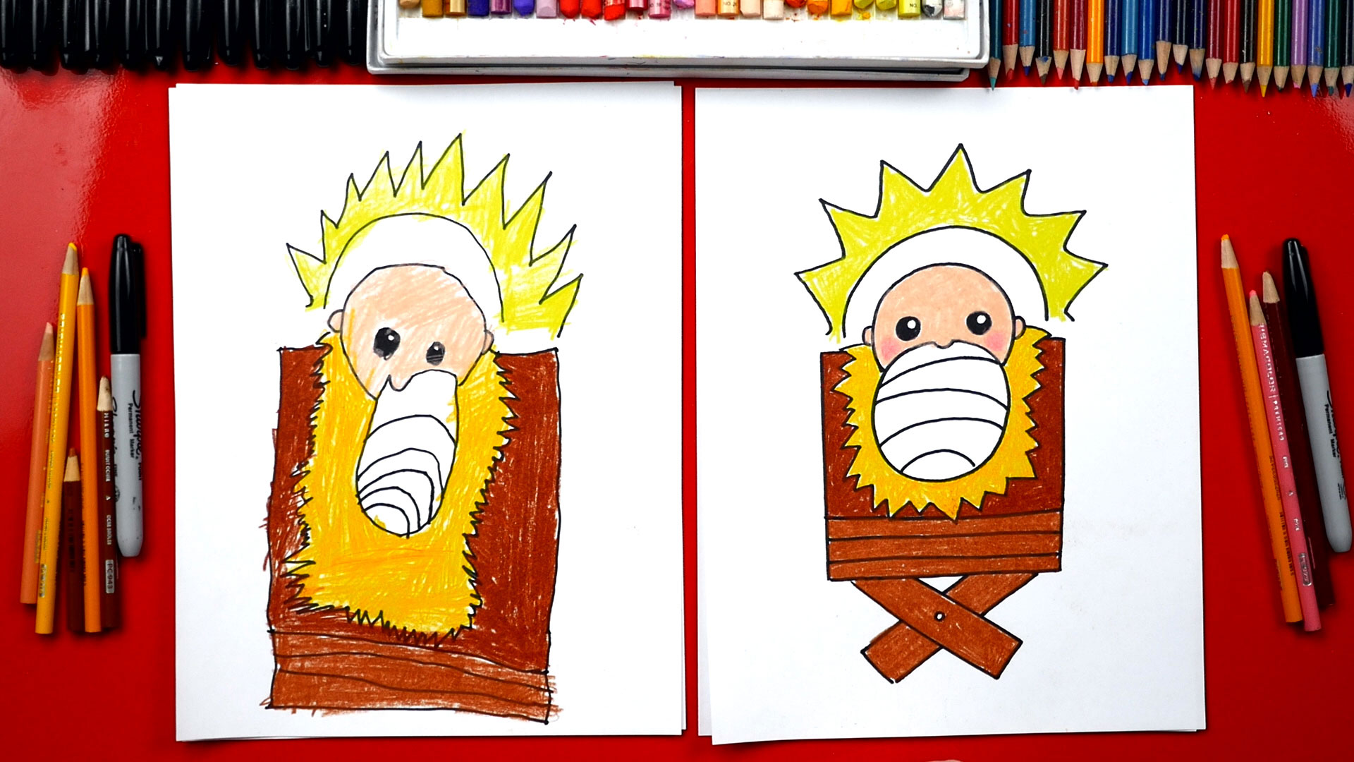 How To Draw Baby Jesus In A Manger Nativity Art For
