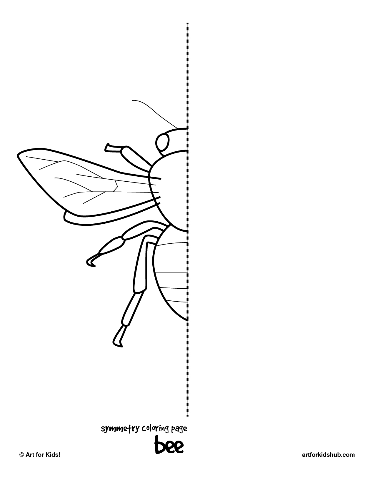 Bee and butterfly coloring pages - Symmetry Coloring Page Bee