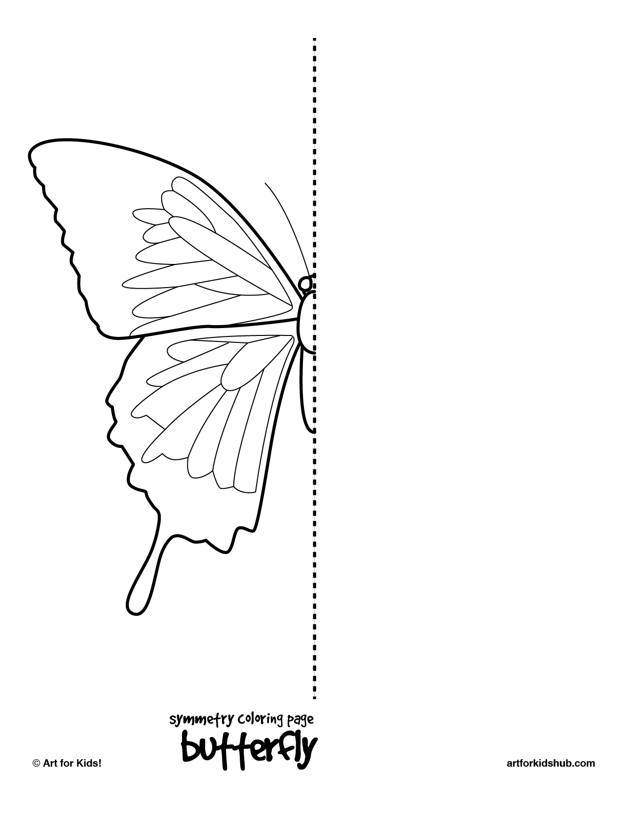 Bee and butterfly coloring pages - Symmetry Coloring Page Butterfly