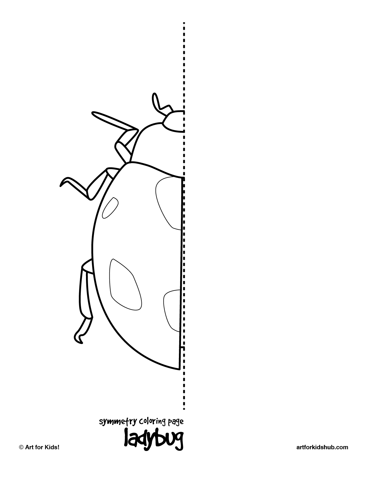 Coloring pages of ladybugs for kids - Symmetry Coloring Page Ladybug