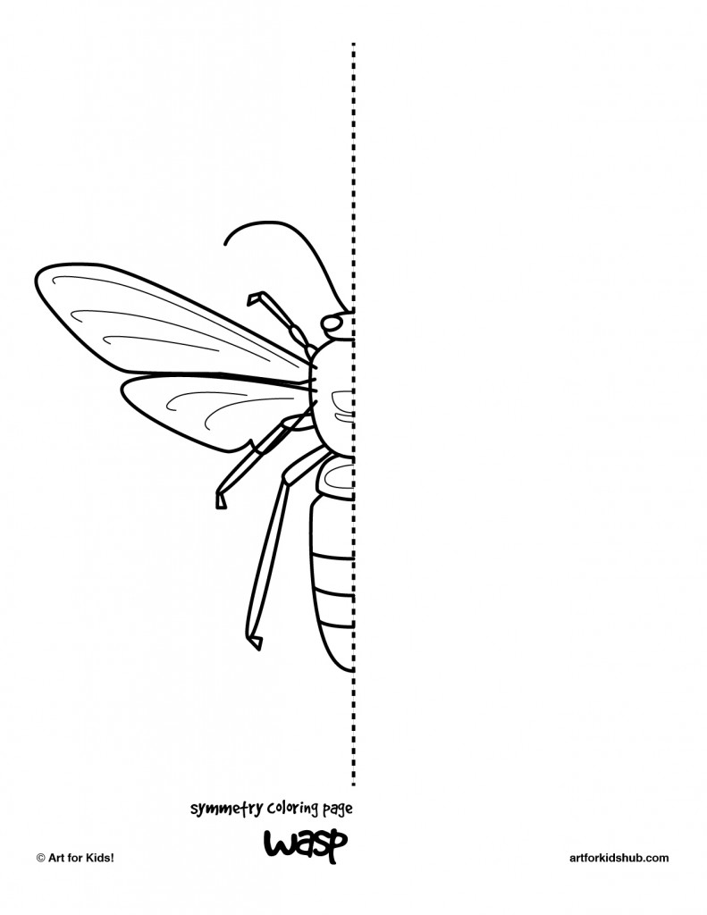 10 Free Coloring Pages – Bug Symmetry