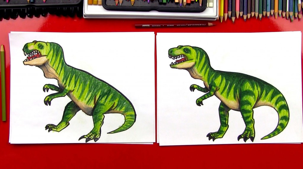 How To Draw A Realistic T-Rex (Art Club Members)