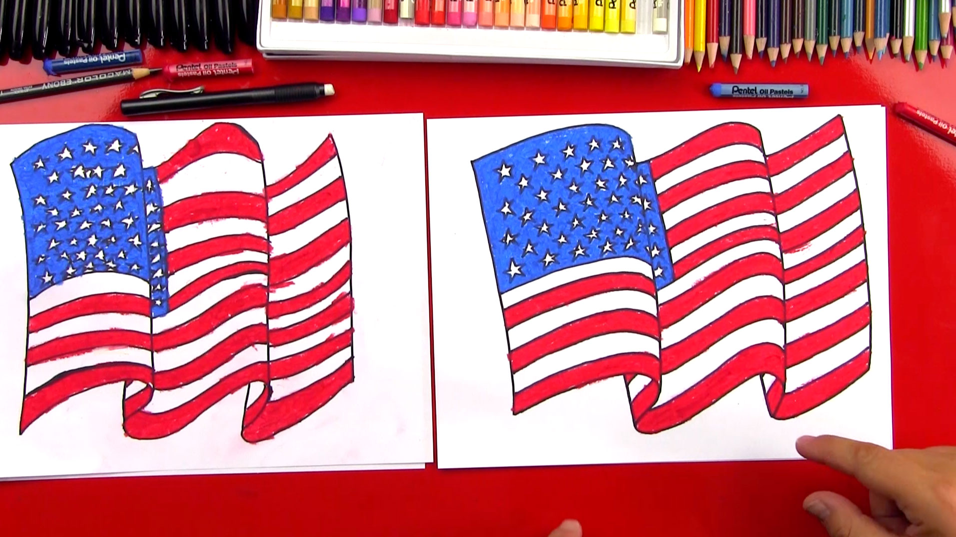 how to draw the american flag art for kids hub