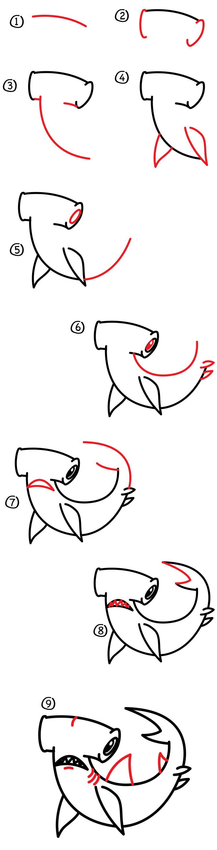 how to draw a hammerhead shark art for kids hub