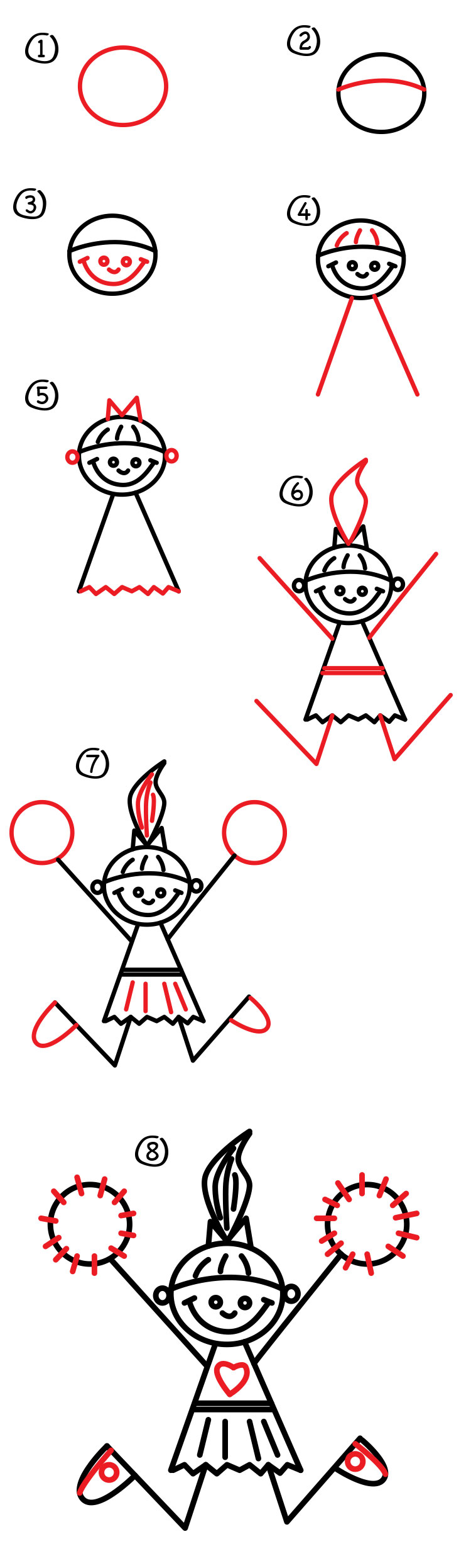 how to draw a cheerleader art for kids hub
