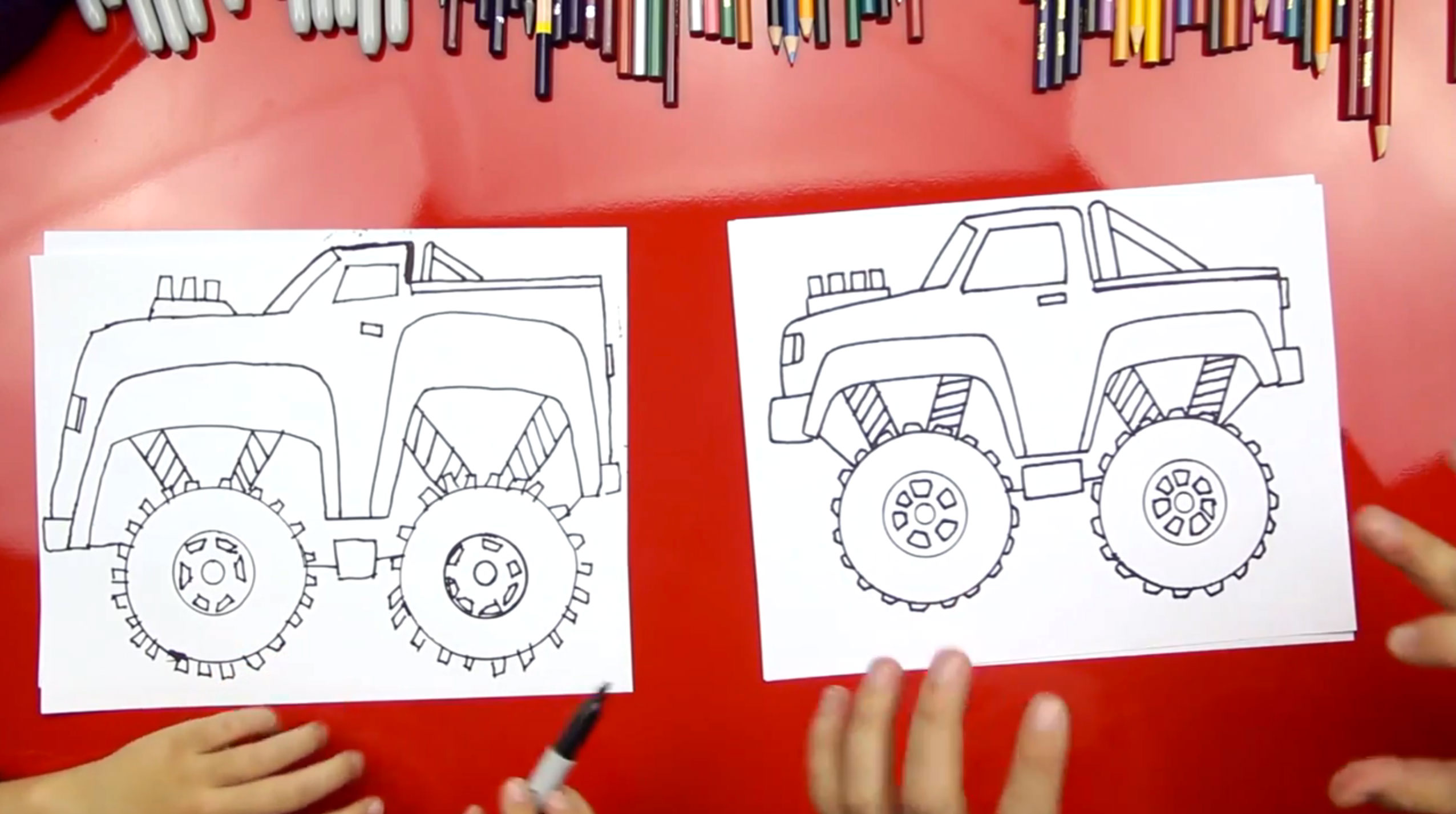 how to draw a monster truck art for kids hub