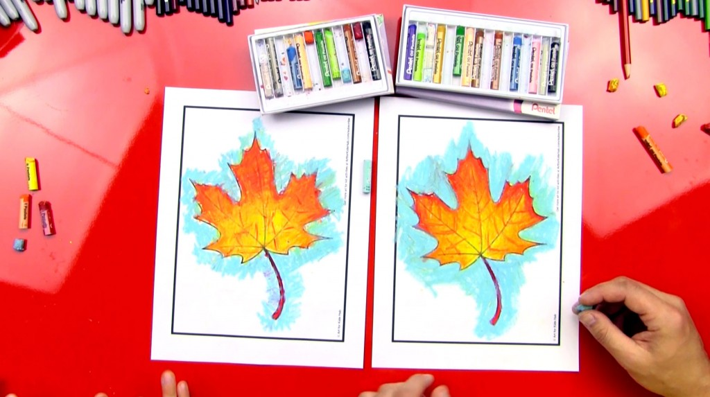 Coloring An Autumn Leaf With Oil Pastels