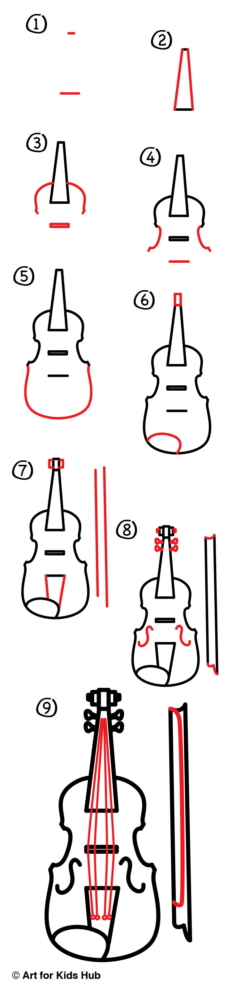 how to draw a violin art for kids hub