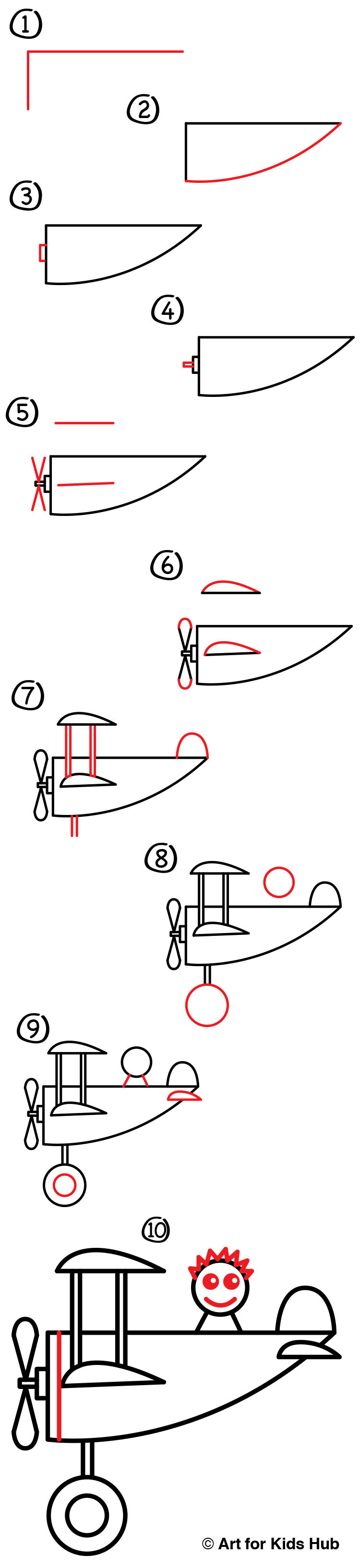 How to draw an airplane for super young artists