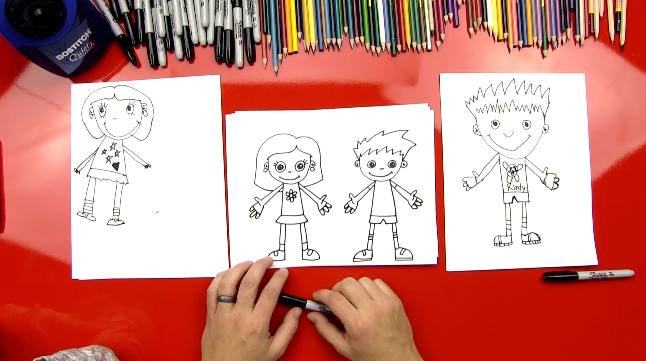How to draw a boy and a girl art for kids hub