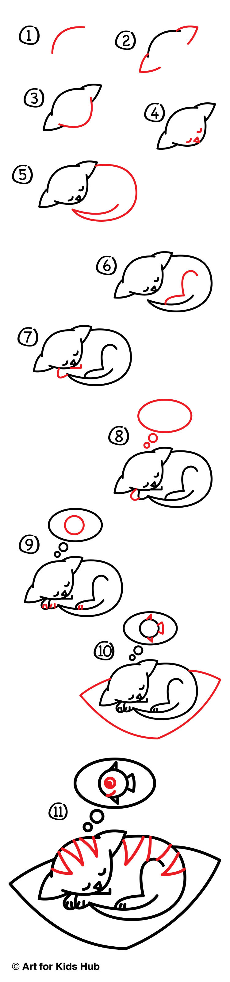 how to draw the cutest kitten ever art for kids hub