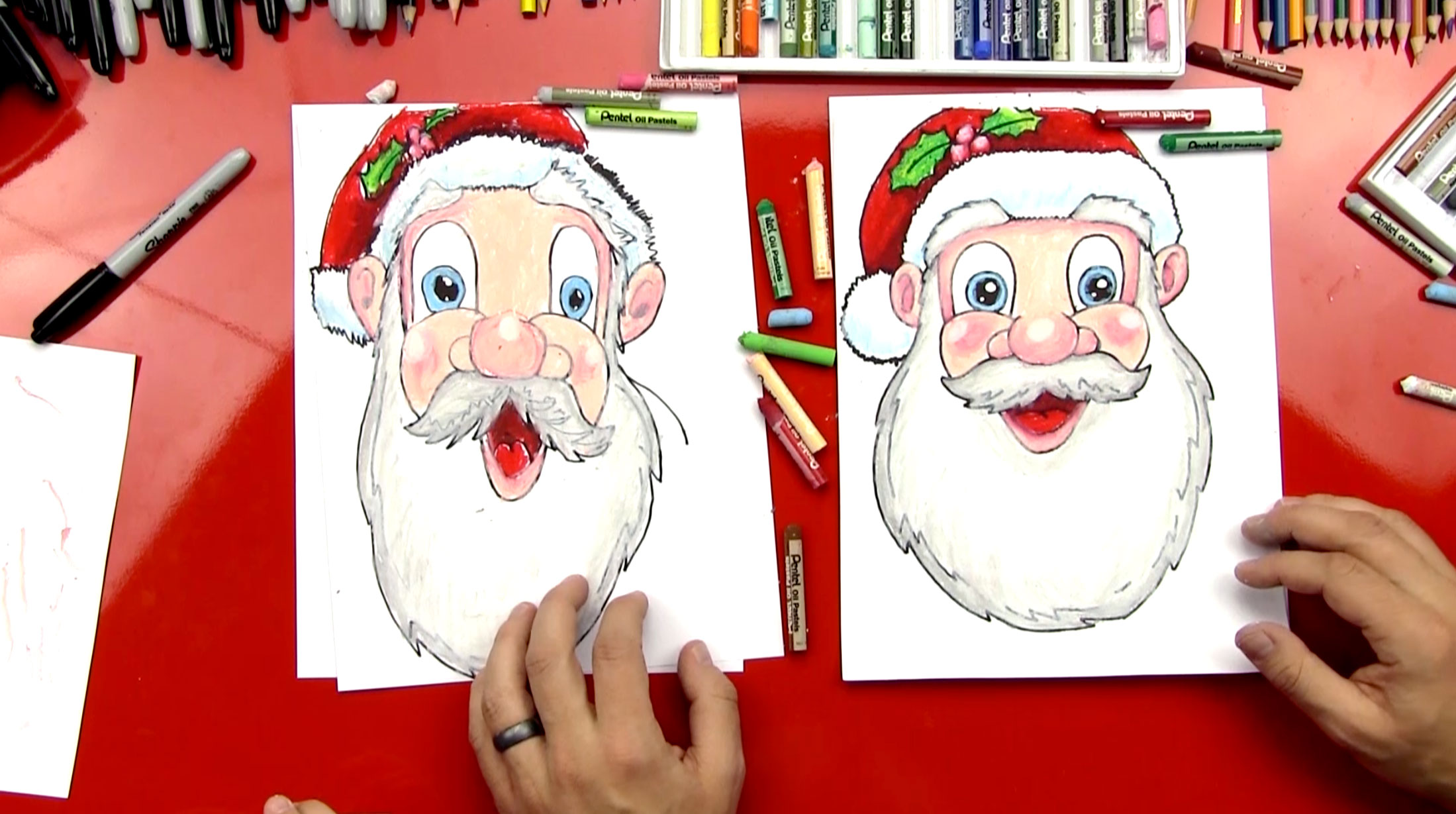 videos of how to draw santa
