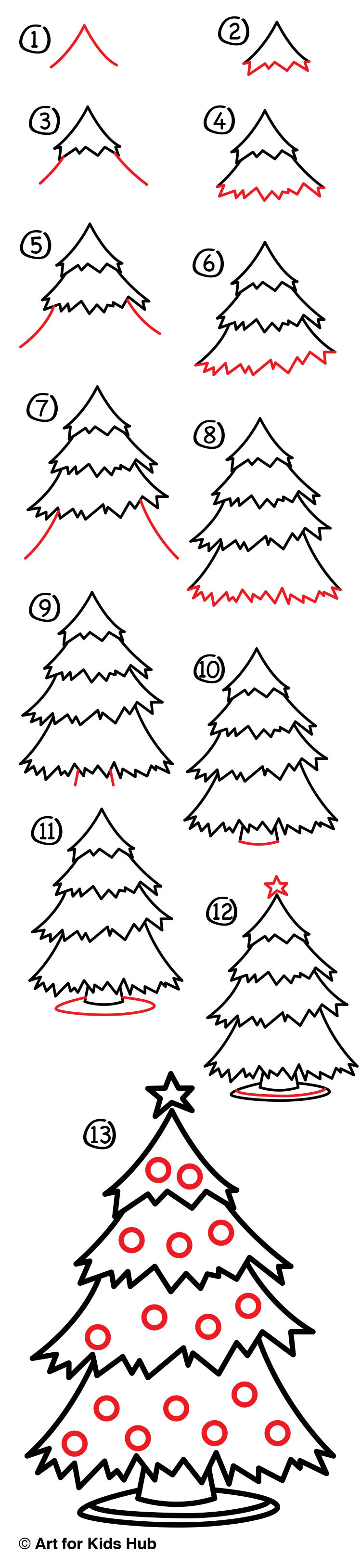 Christmas Pictures To Draw.How To Draw A Christmas Tree Art For Kids Hub