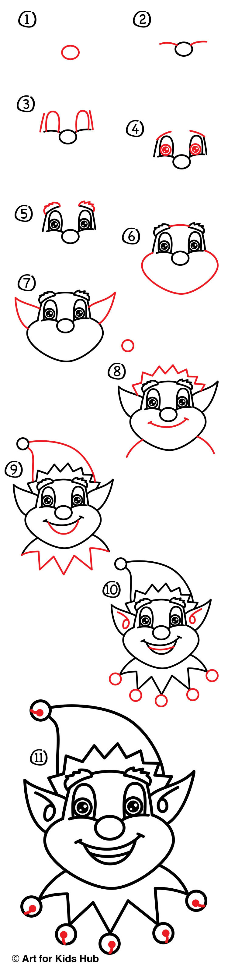 How To Draw A Christmas Elf Face - Art For Kids Hub -
