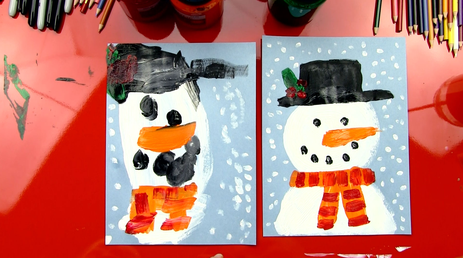 how to paint a snowman for young artists