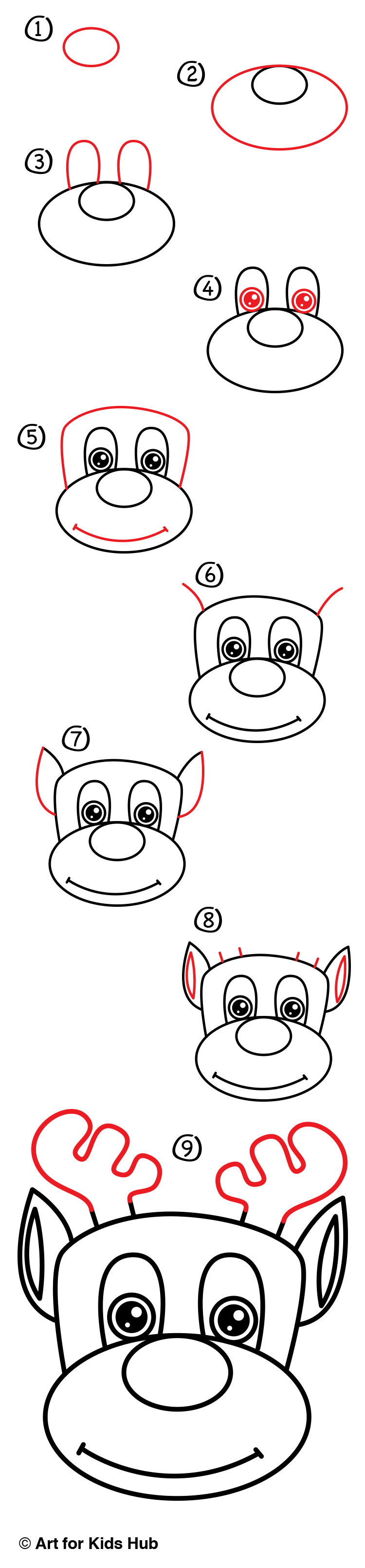 how to draw rudolph art for kids hub