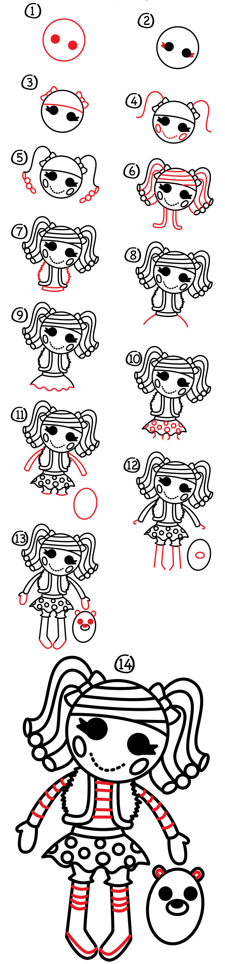 How To Draw Lalaloopsy  Mittens Fluff N Stuff