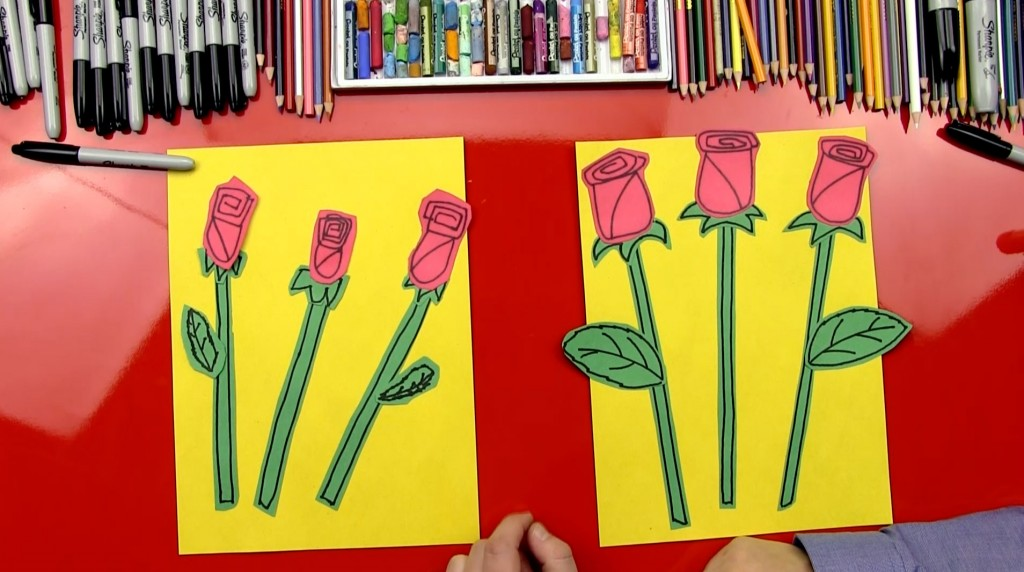 How To Draw A Rose – Construction Paper Cutout
