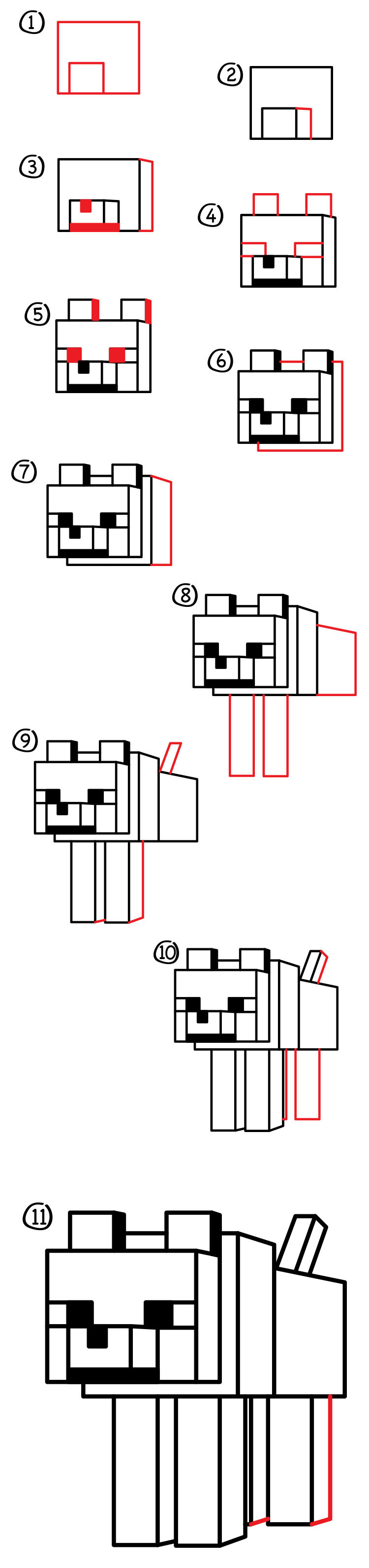 how to draw a minecraft wolf dog art for kids hub