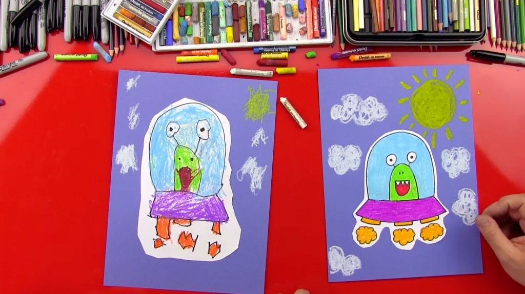 How To Draw An Alien UFO (young artists)