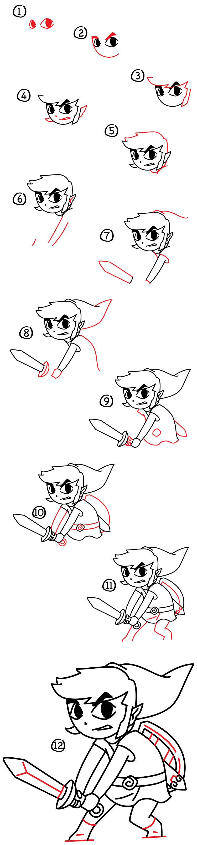 step by step how to draw looney toon characters
