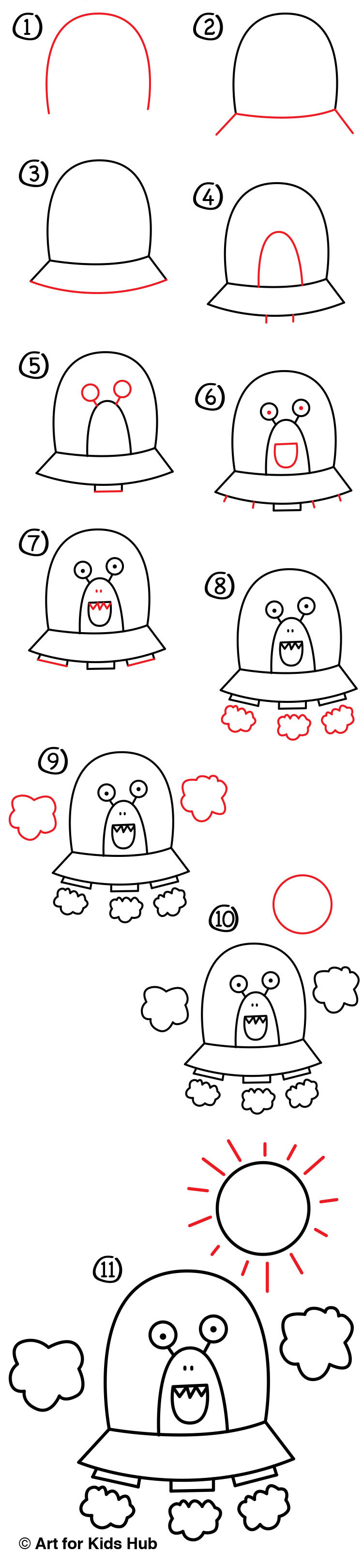 How To Draw An Alien UFO young artists Art For Kids Hub