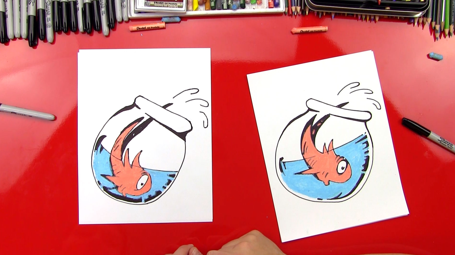 How To Draw Fish From The Cat In The Hat Art For Kids Hub
