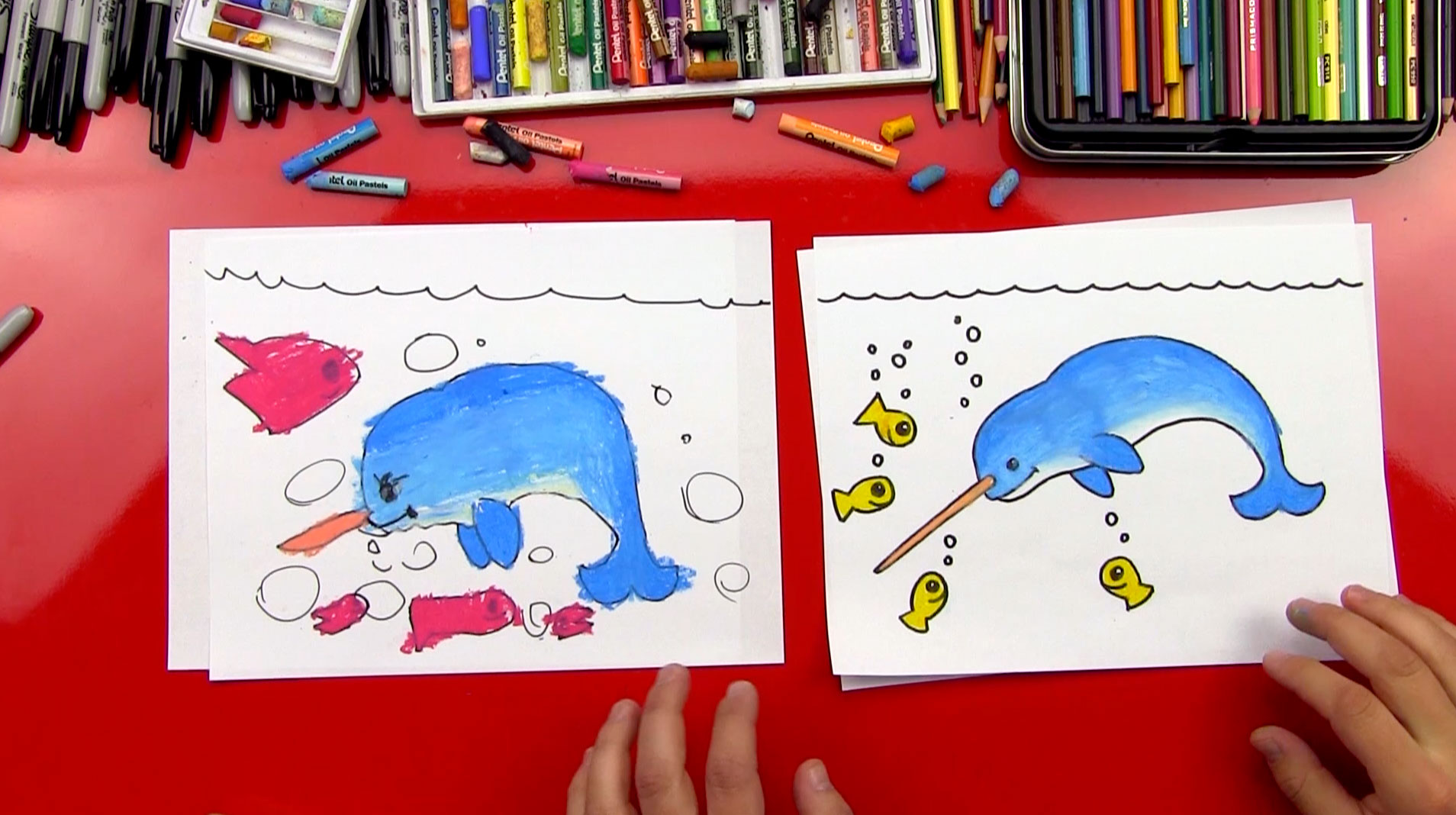 how to draw a narwhal art for kids hub