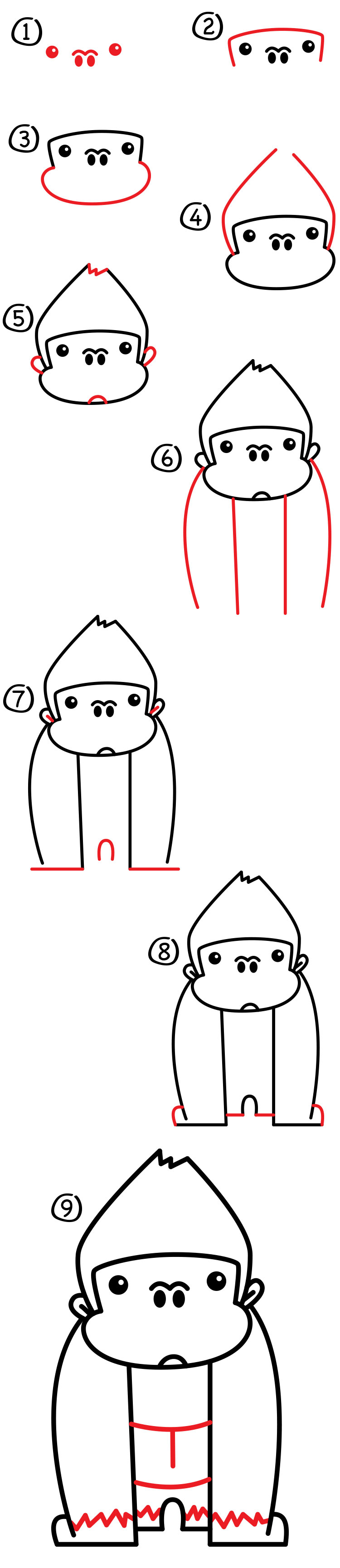 Uncategorized How To Draw A Gorilla Step By Step how to draw a cartoon gorilla art for kids hub