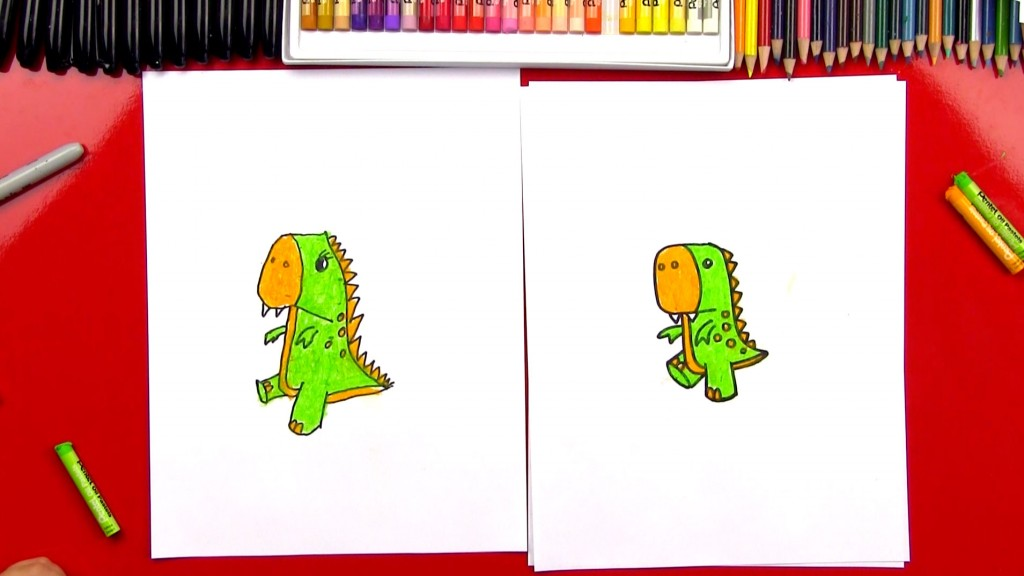 How To Draw A Cartoon T-Rex (Art Club Members)