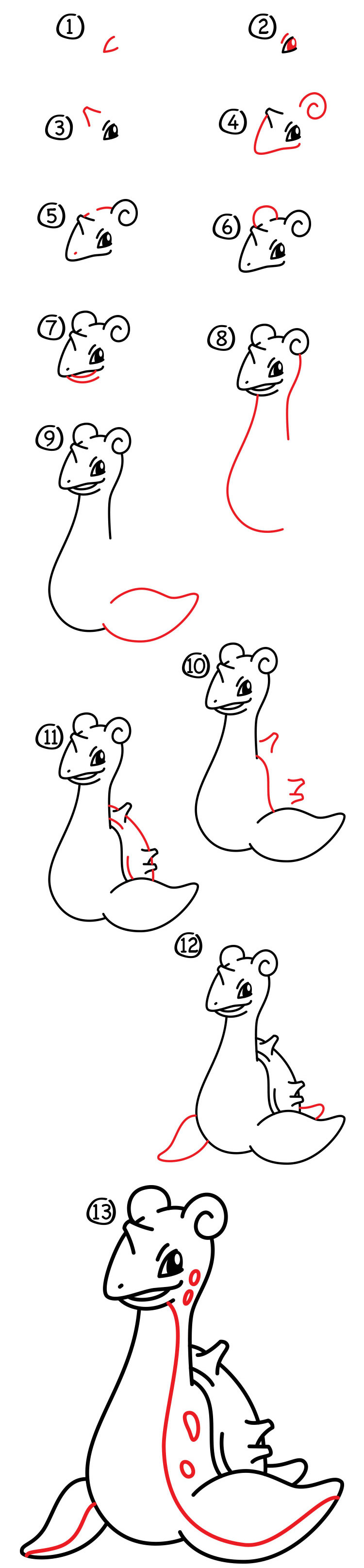 How To Draw Mario Characters Step By Step For Kids How To Draw Lapras - A...