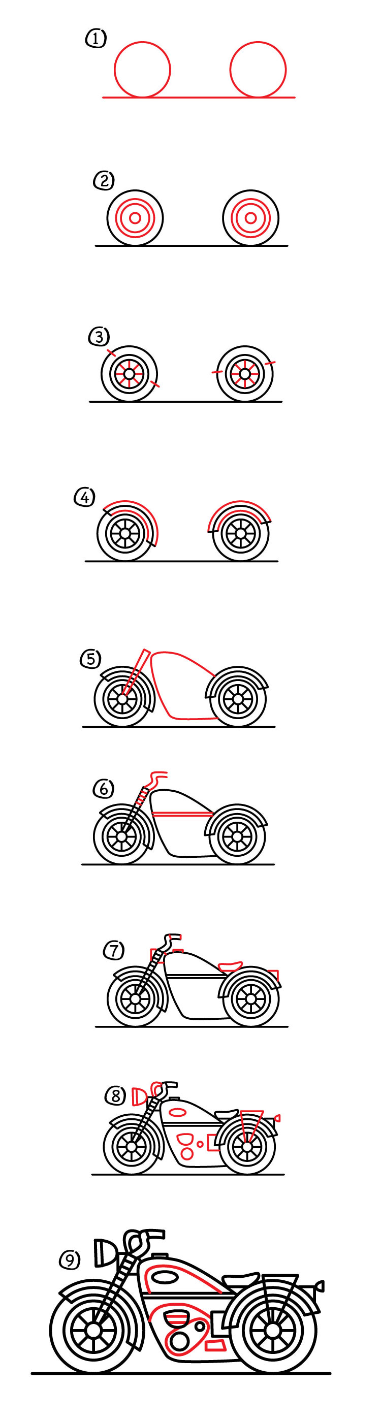 How to draw a motorcycle: a step-by-step instruction