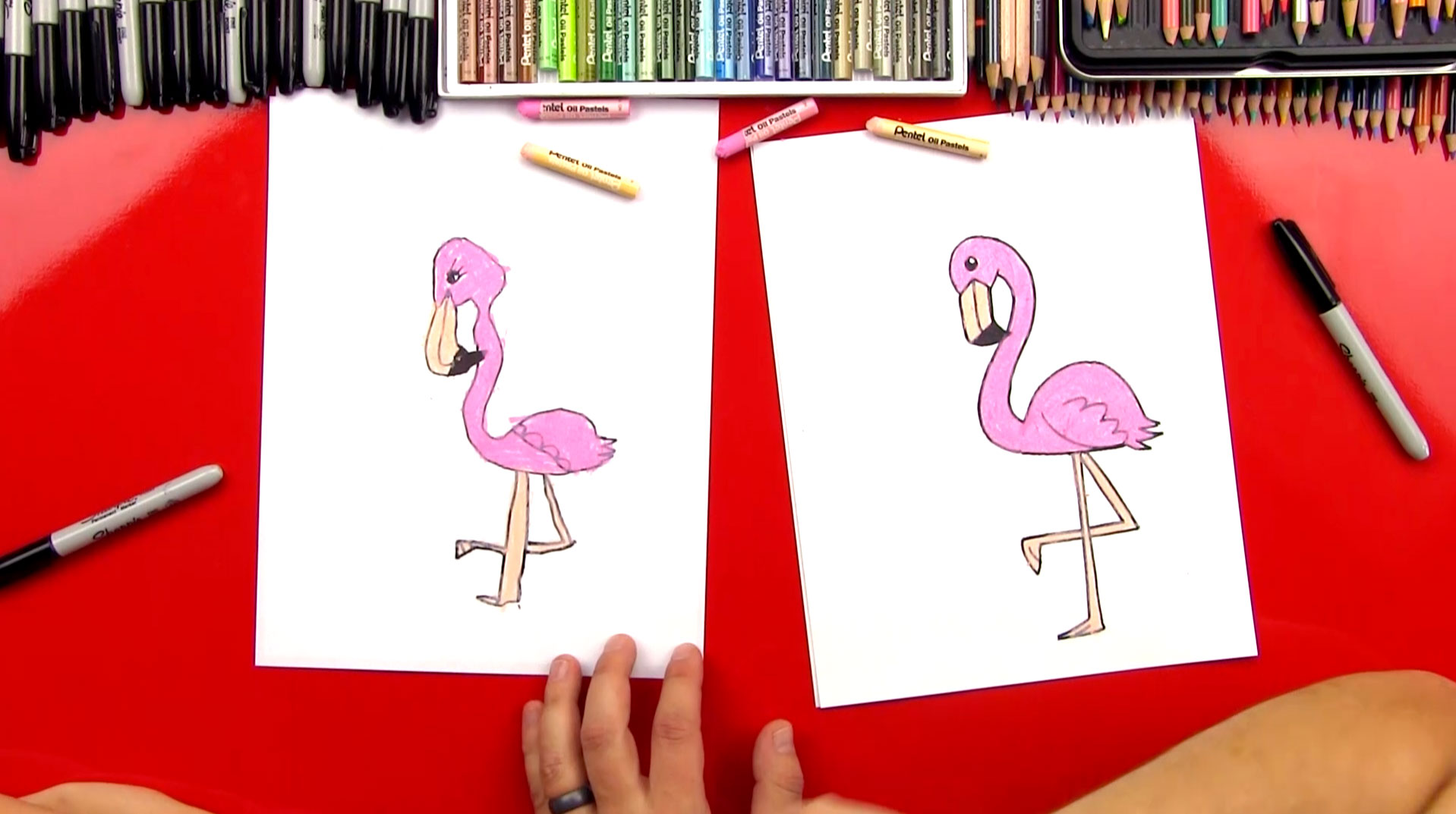 How To Draw A Cartoon Flamingo