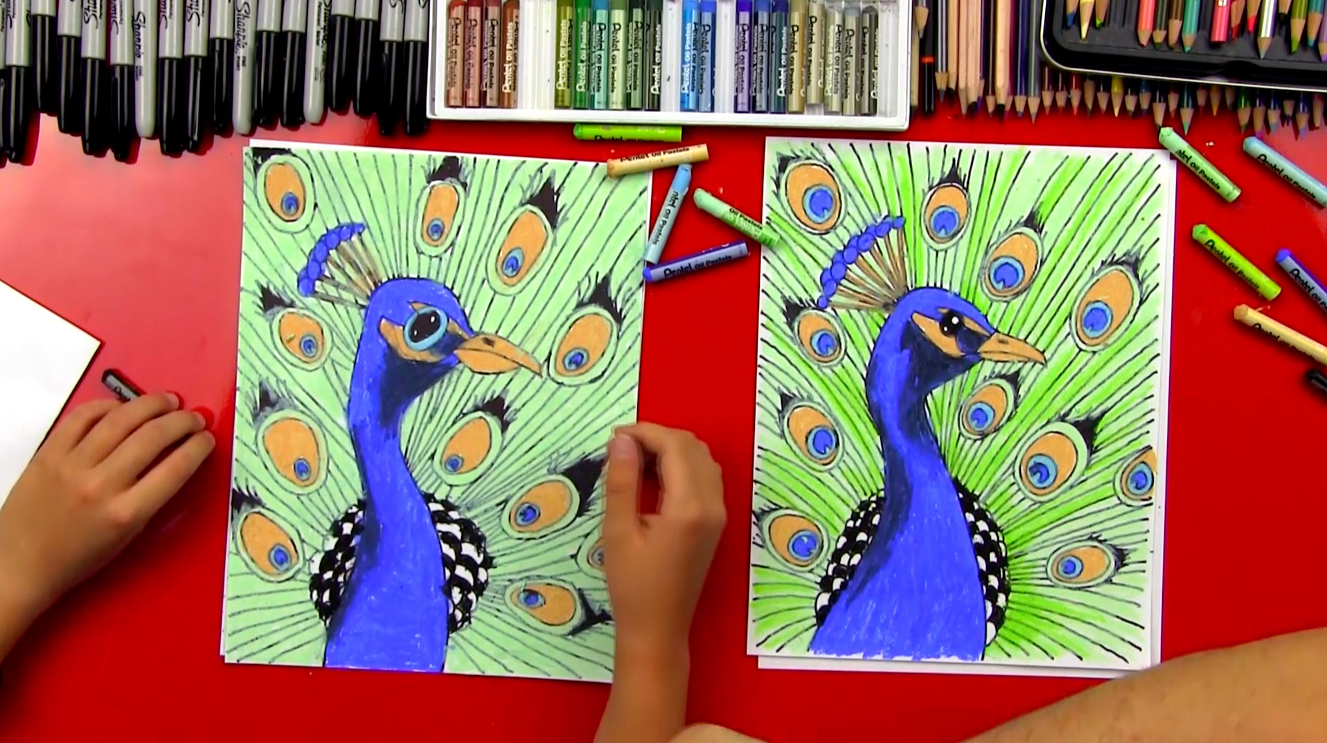Pics Photos How To Draw A Peacock For Kids Step 7