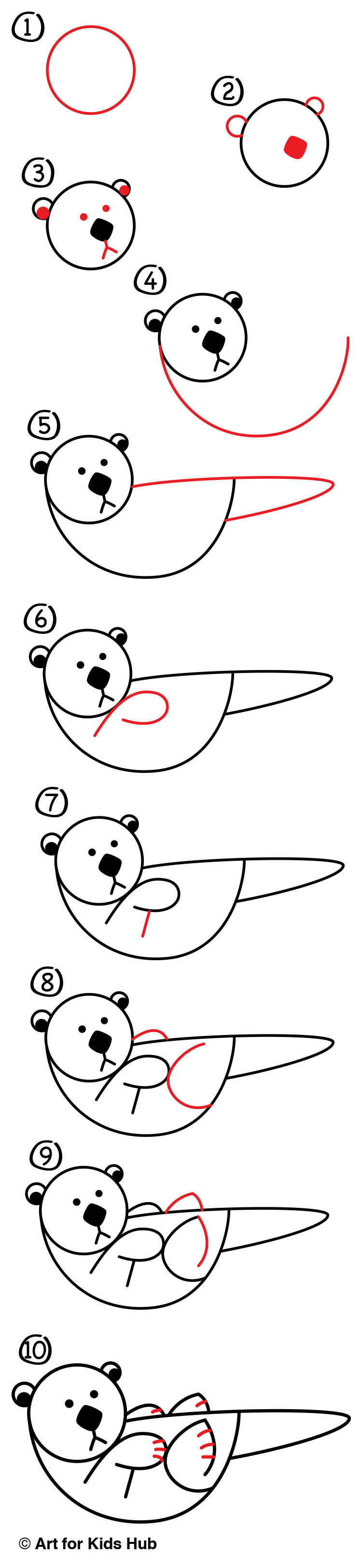 4f2fd8f3f38d1 How To Draw An Otter With Shapes - Art For Kids Hub -