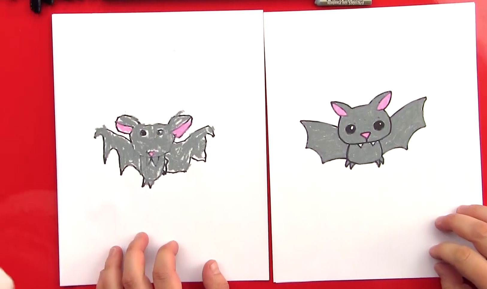 How to draw a cartoon bat art for kids hub for How to draw a small bat