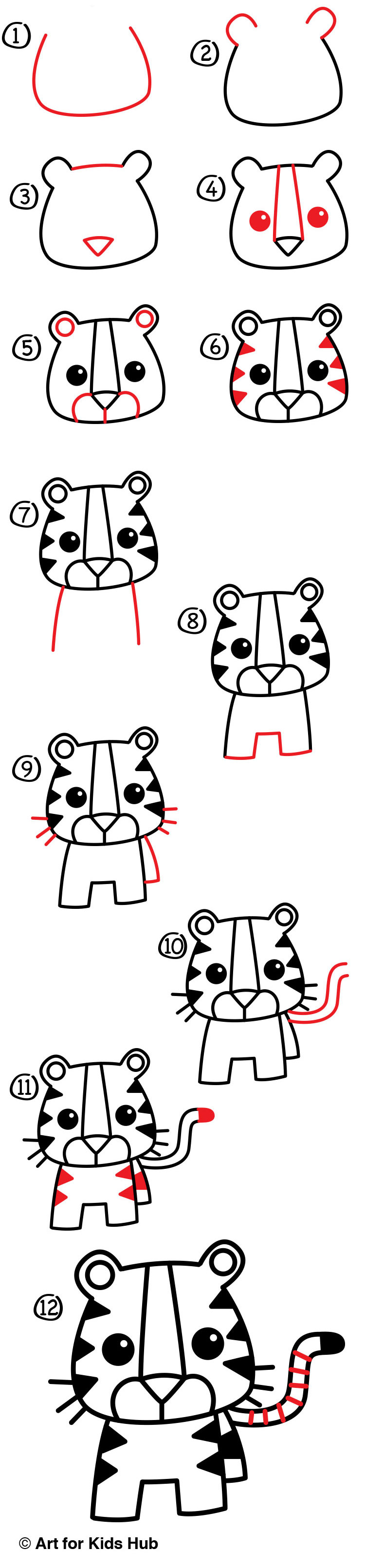 How To Draw A Cartoon Tiger - Art For Kids Hub