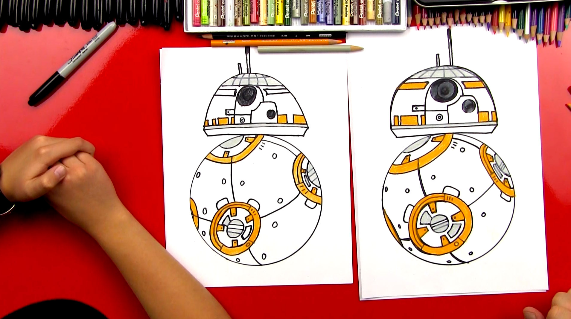 how to draw bb 8 from star wars art for kids hub