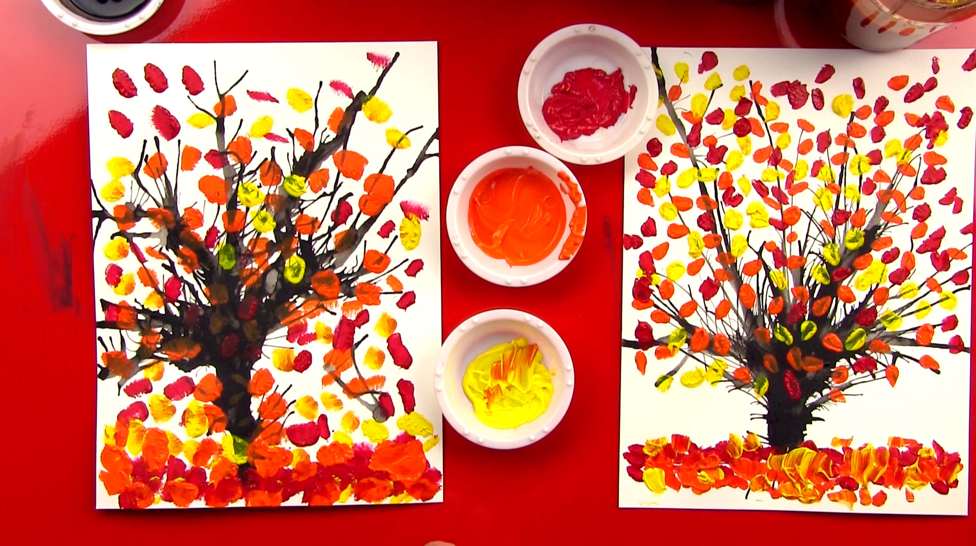 Image result for kids fall tree painting
