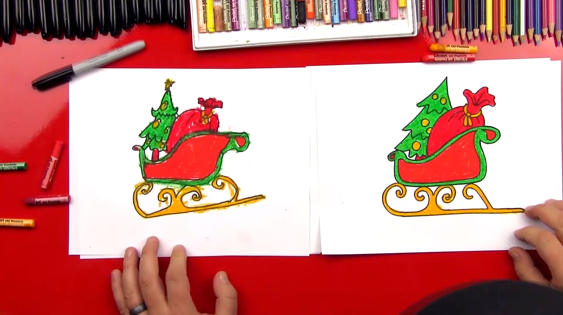 how to draw santa u0027s sleigh art for kids hub
