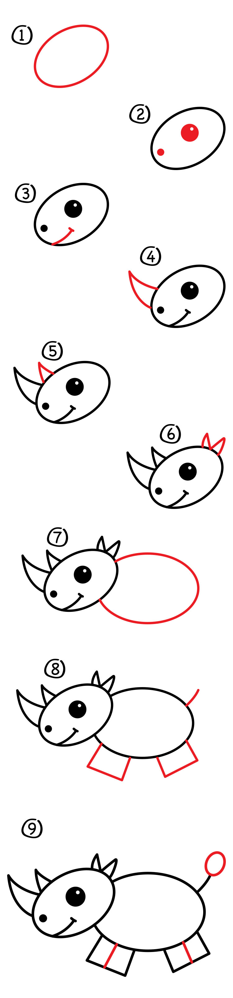 how to draw a rino