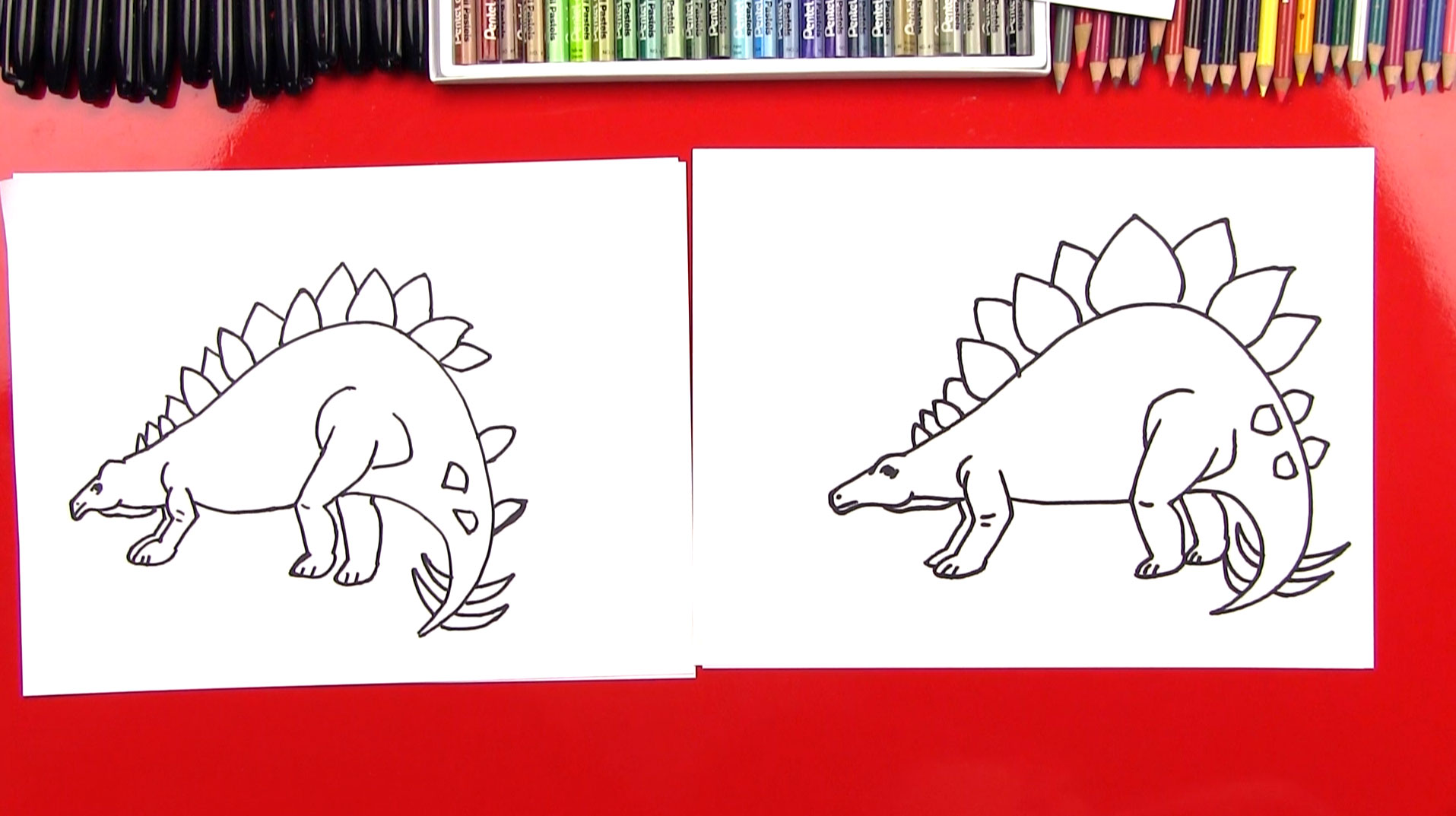 How to draw a stegosaurus realistic art for kids hub
