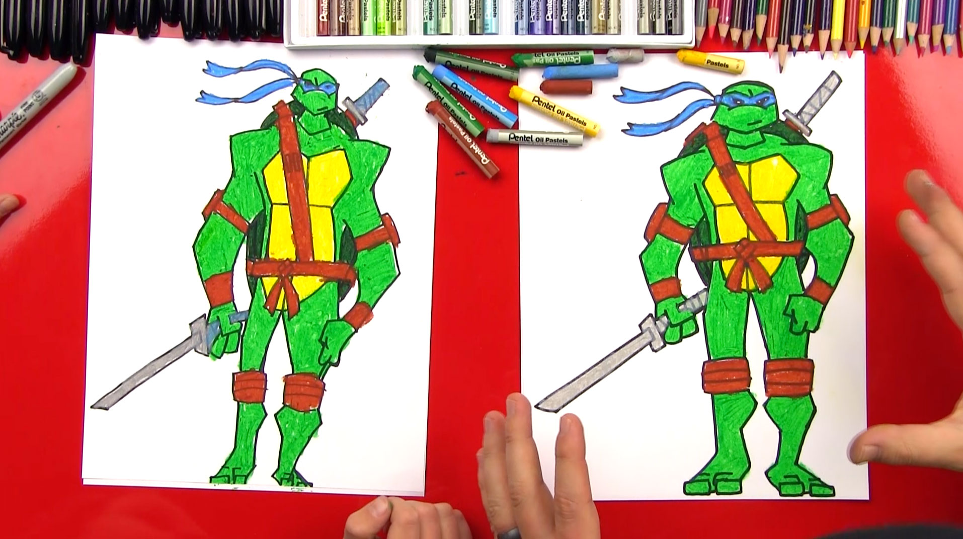 how to draw leonardo teenage mutant ninja turtle advanced art for kids hub
