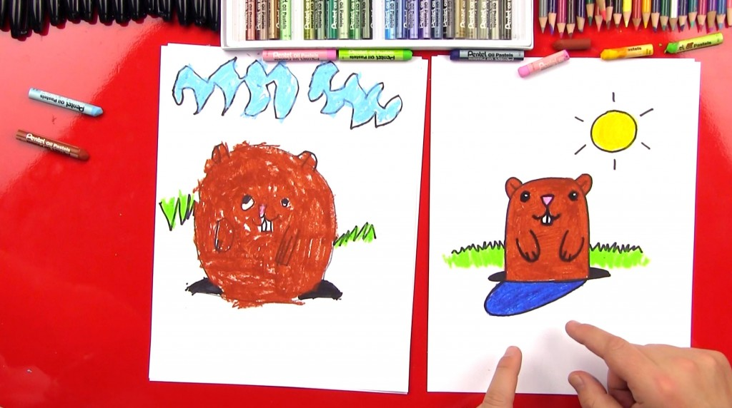 How To Draw A Cartoon Groundhog