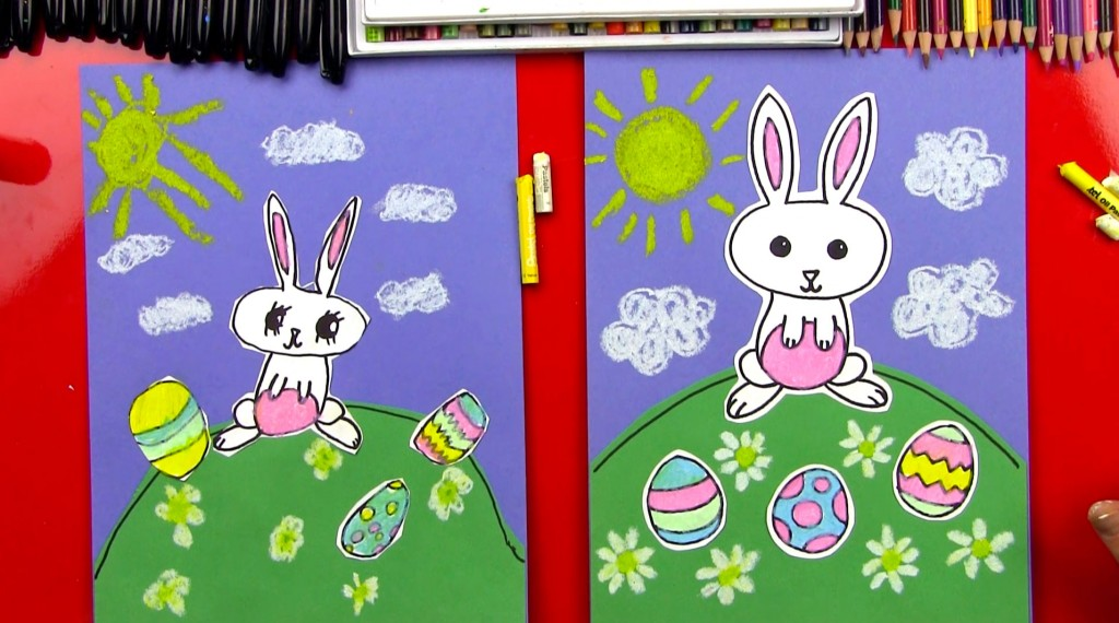 How To Draw A Cartoon Easter Bunny