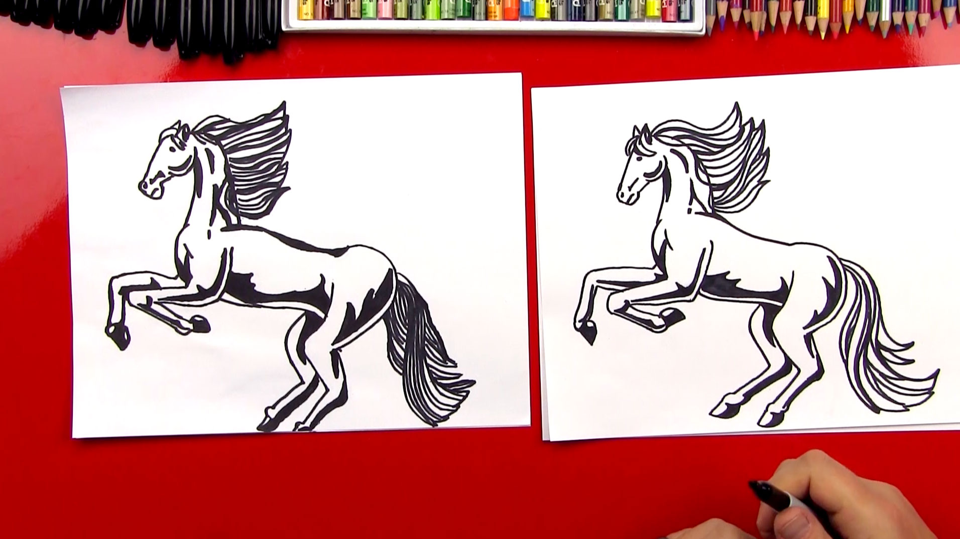 how to draw a realistic horse part 1 art for kids hub
