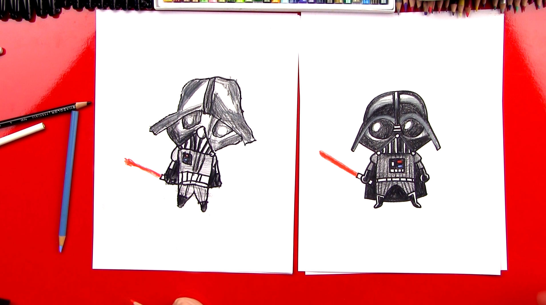 How to draw a Darth Vader from Star Wars in stages 99