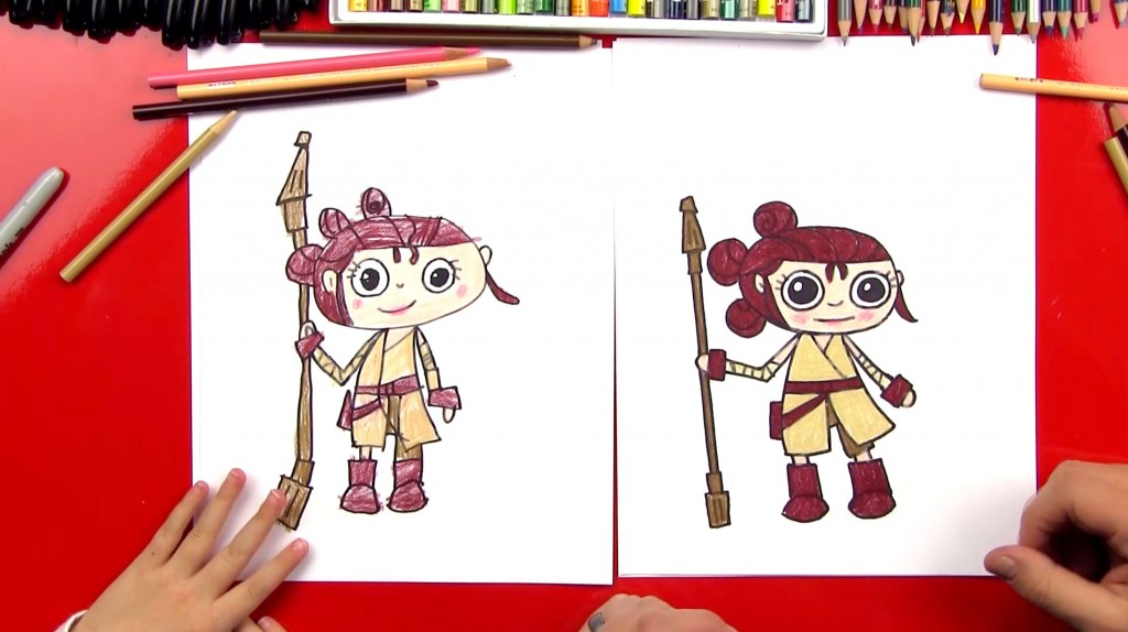 How To Draw A Cartoon Rey From Star Wars