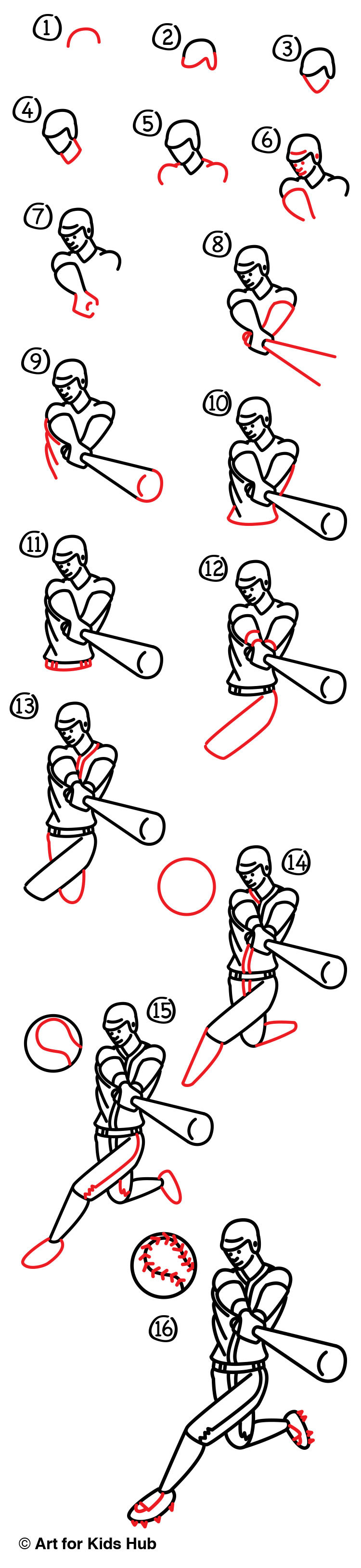 How To Draw A Baseball Player - Art for Kids Hub